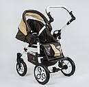Коляска для дітей Saturn ЛЬОН БІЛА РАМА 0186-L10 колір шоколадно-БЕЖЕВИЙ, фото 8
