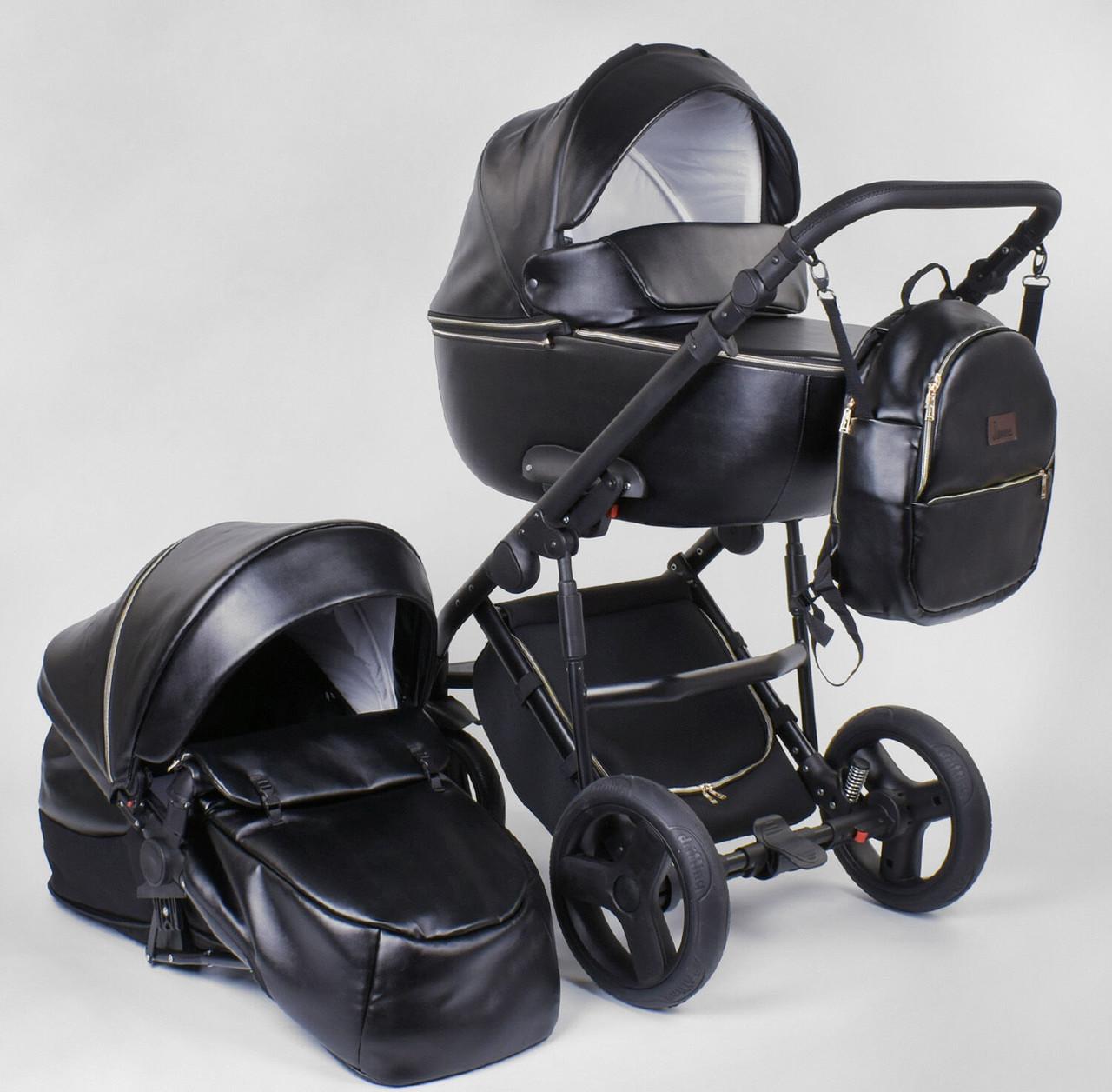 Коляска універсальна 2 в 1 ROSY 2040-02 колір чорний, матеріал еко-шкіра