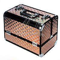 Професійний алюмінієвий кейс для косметики світло коричневий хамелеон