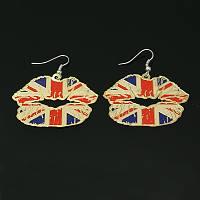 """Серьги """"Губы"""" с орнаментом флаг Великобритании"""