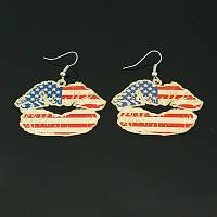 """Серьги """"Губы"""" с орнаментом флаг США"""