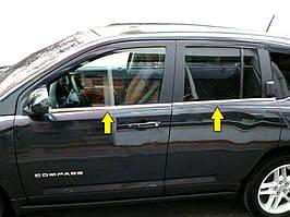 Jeep Compass 2006-2016 рр. Нижня окантовка вікон (нерж)