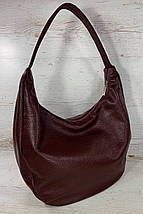 216  Натуральная кожа Объемная женская сумка на плечо Кожаная бордовая марсала из натуральной кожи сумка хобо, фото 2