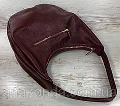 216  Натуральная кожа Объемная женская сумка на плечо Кожаная бордовая марсала из натуральной кожи сумка хобо, фото 3