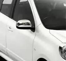 Nissan Note 2013↗ гг. Накладки на зеркала (2 шт, нерж) OmsaLine - Итальянская нержавейка