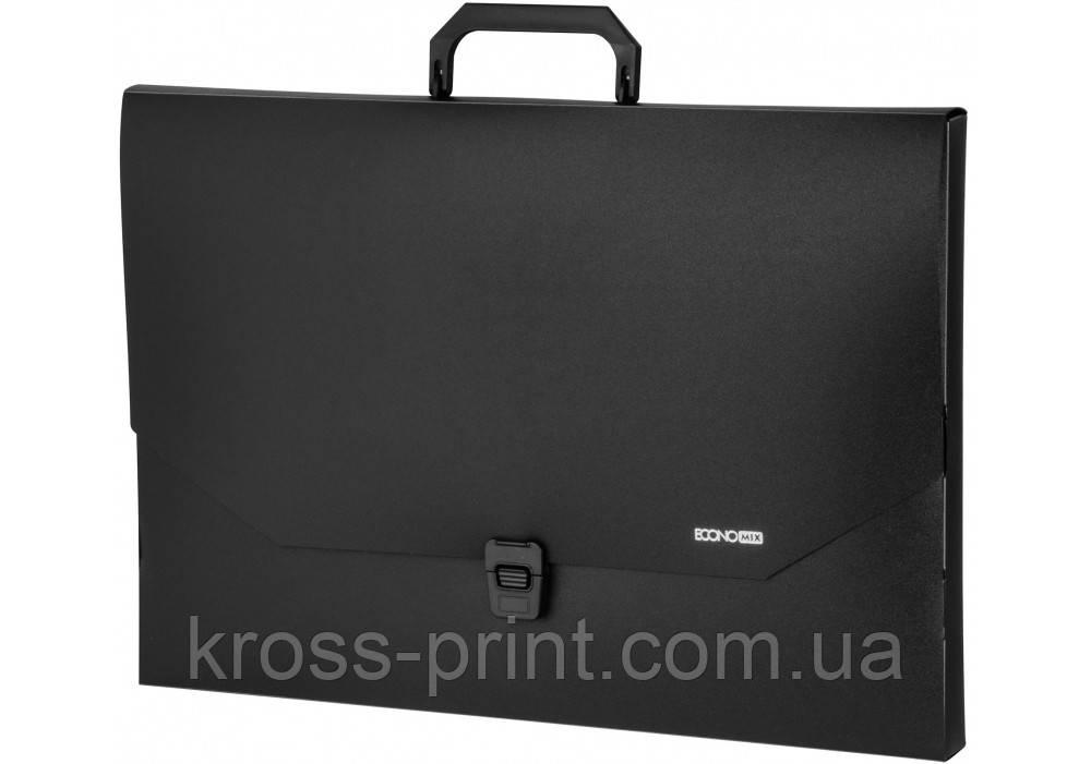Портфель пластиковий A3 Economix на застібці, 1 відділення, чорний