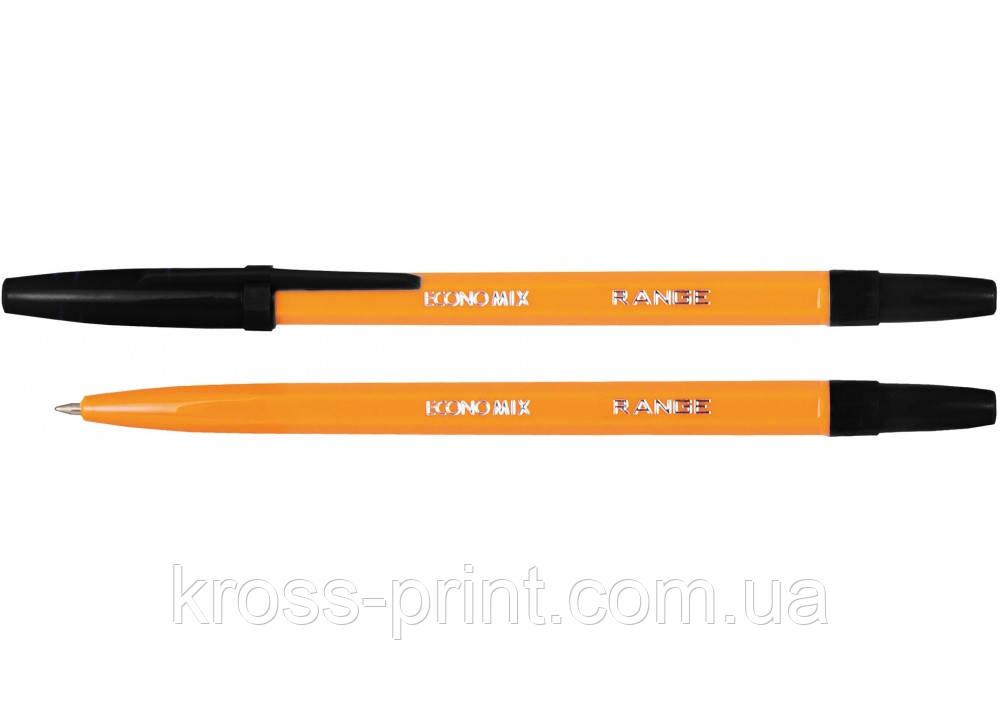 Ручка кулькова ECONOMIX RANGE 0,5 мм. Корпус помаранчевий, пише синім