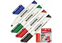 Набор маркеров c губкой для белых досок KORES 2-3 мм, 4 цвета в блистере