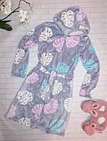 Махровый халат женский Листок на молнии с капюшоном, 46, 50 размер