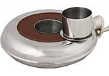 Фляга з нержавіючої сталі, 240мл, кругла, з коричневою вставкою, фото 2