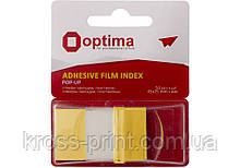 Стикеры-закладки Optima, 45х25, желтые, 50 шт.