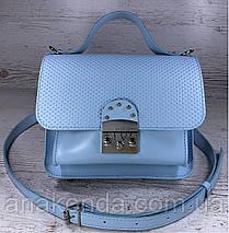 574-4 Натуральная кожа Сумка женская голубая Кожаная сумка через плечо сумка женская голубая кросс-боди, фото 2