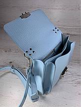 574-4 Натуральная кожа Сумка женская голубая Кожаная сумка через плечо сумка женская голубая кросс-боди, фото 3
