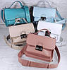 574-4 Натуральная кожа Сумка женская голубая Кожаная сумка через плечо сумка женская голубая кросс-боди, фото 5