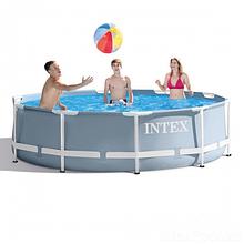 Круглый, наливной бассейн с металлическим каркасом с фильтр-насосом Intex 26702, (размер 305х76 см) цвет серый