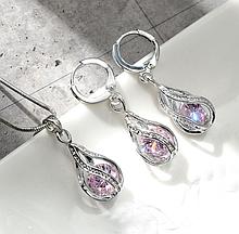 Ювелірний комплект прикрас сережки і ланцюжок з кулоном з рожевим камінням код 1316