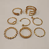 Набор женских золотистых колец код 1946, фото 8