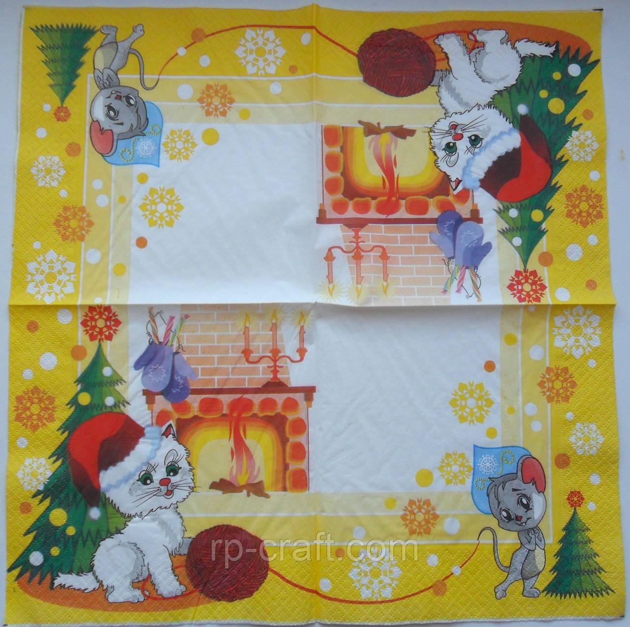 Серветка для декупажу. Кіт і миша, 33х33 см