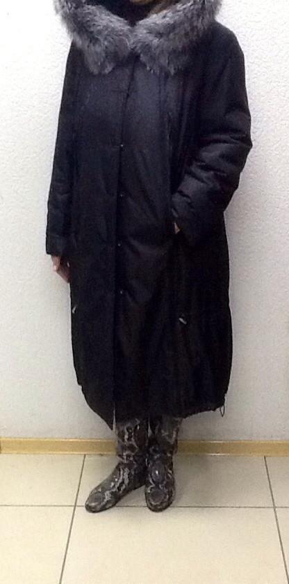 Пальто парка женская натуральная с капюшоном черное РАЗМЕР+