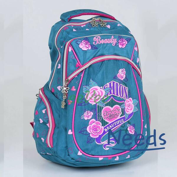 Рюкзак шкільний City No315 Beauty 44х33х22 см 2 відділення, 3 кишені, для дівчинки Блакитний