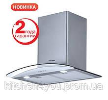 Pyramida HEE 92 D (600 мм.) декоративная кухонная вытяжка, нержавеющая сталь / стекло