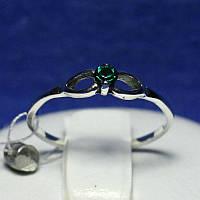 Кольцо серебро с зеленым цирконом 1004з