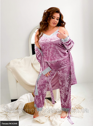Пижама женская брюки, халат и майка батал Размеры: 50-54, 56-60, фото 2