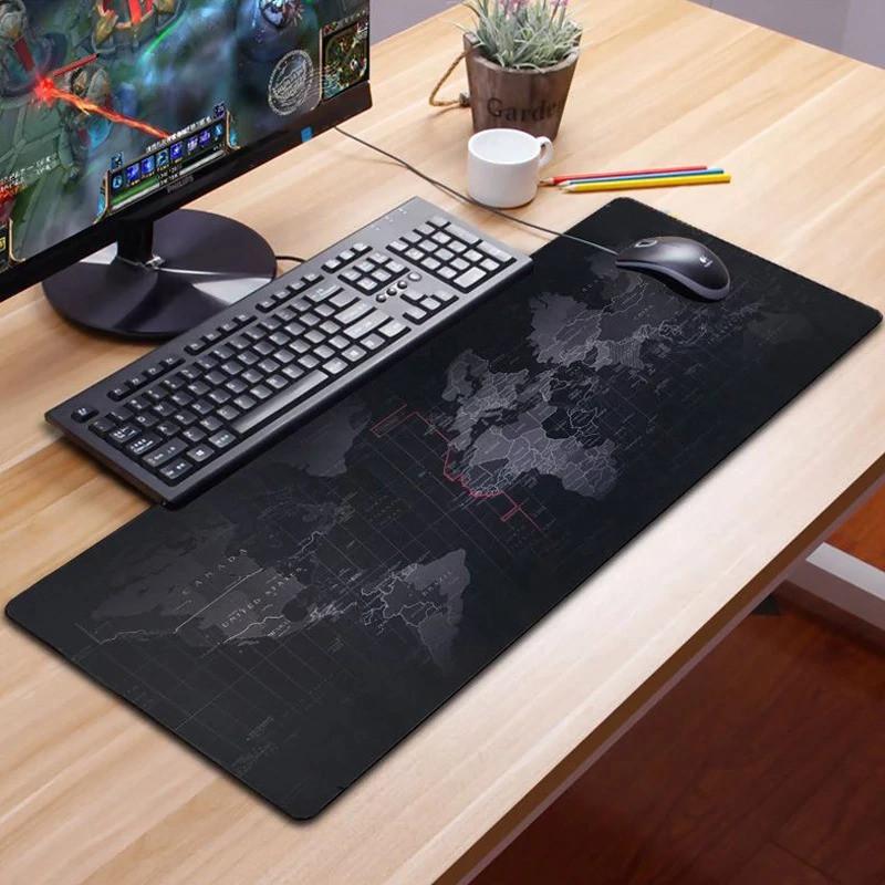 Коврик для мыши большой Black map Карта мира mousepad 70*30 см игровой коврик для мыши