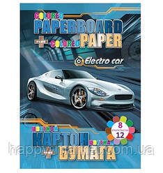 "Картон В5 цв.2-х сторонний 6л + 2л металик + цв.бумага 12л "" Electro car"" (8 цв.) №13269 (8уп)"