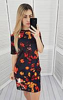 Женское платье, принт цветы на черном, арт. М323/3