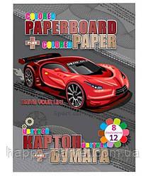 Картон В5 цв.2-х сторонний 6л + 2л металик + цв.бумага 12л Drive (8 цв.) №13273 (8уп)
