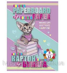 Картон В5 цв.2-х сторонний 6л + 2л металик + цв.бумага 12л Kitty cat (8 цв.) №13274 (8уп)