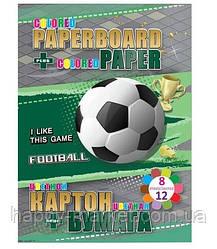 Картон В5 цв.2-х сторонний 6л + 2л металик + цв.бумага 12л Goal (8 цв.) №13270 (8уп)