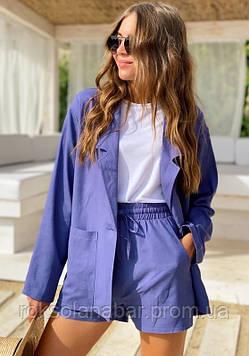 Блакитний костюм двійка з піджаком і шортиками