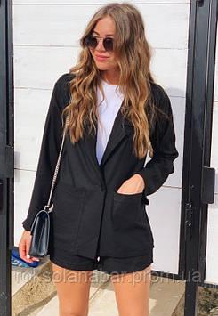 Чёрный костюм двойка с пиджаком и шортиками