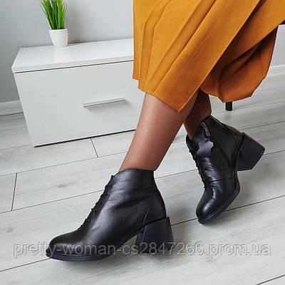 Черевики жіночі на підборах чорні натуральна шкіра