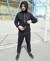 Мужской спортивный костюм однотонный. Цвет черный. 100% качество ноу бренд