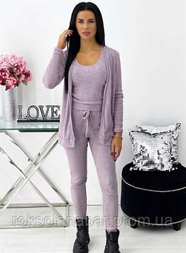 Костюм тройка (кофта+майка+штаны) пудрового цвета