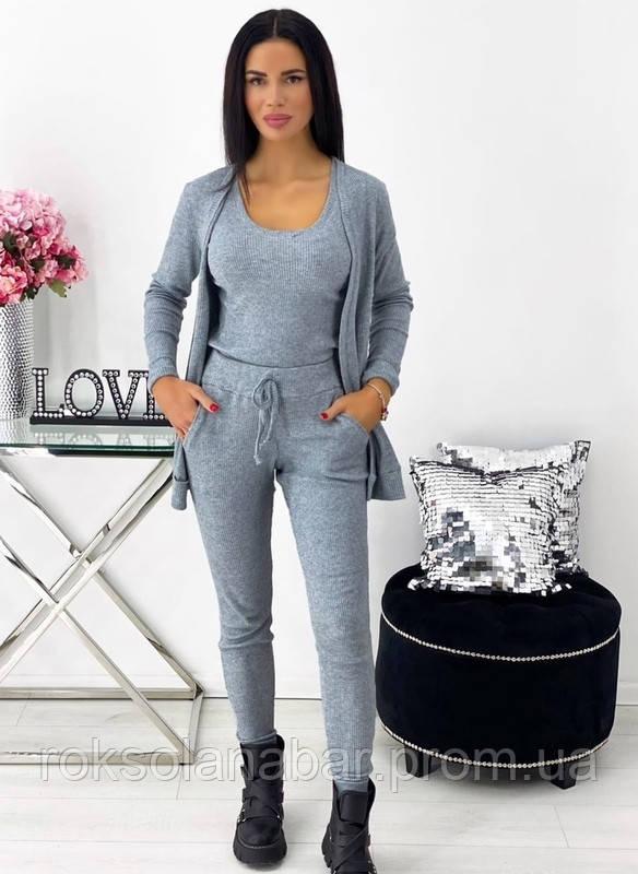 Костюм трійка (кофта + майка + штани) сірого кольору