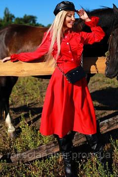 Костюм красный с юбкой и рубашкой с рюшами