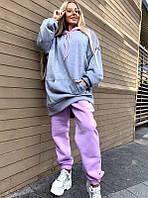 Теплый спортивный костюм серо-лилового цвета универсального размера 42-46