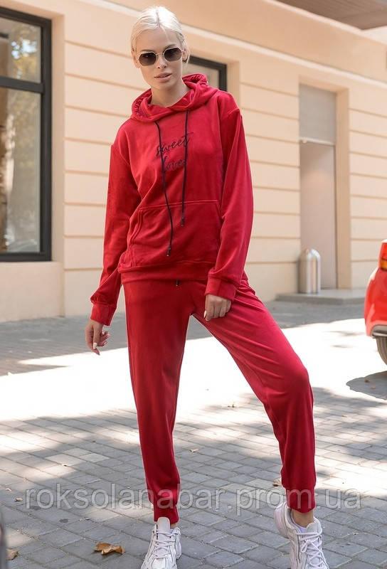 Спортивний велюровий костюм-двійка в бордовому кольорі