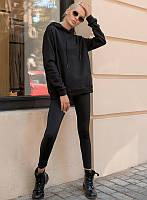 Комплект спортивной одежды (худи+лосины) чёрного цвета