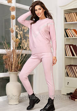 Костюм розовый с блестящими полосками универсальный 42-46