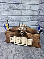 Деревянный именной органайзер с вечным календарем, подставка для канцелярии