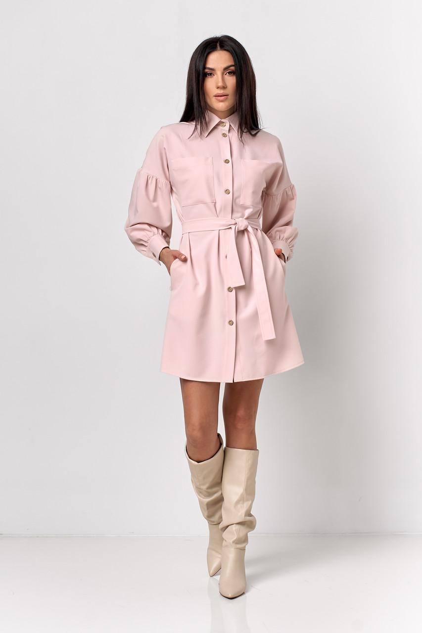 Модное платье-рубашка нежно-розового цвета