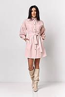 Модное платье-рубашка нежно-розового цвета, фото 1