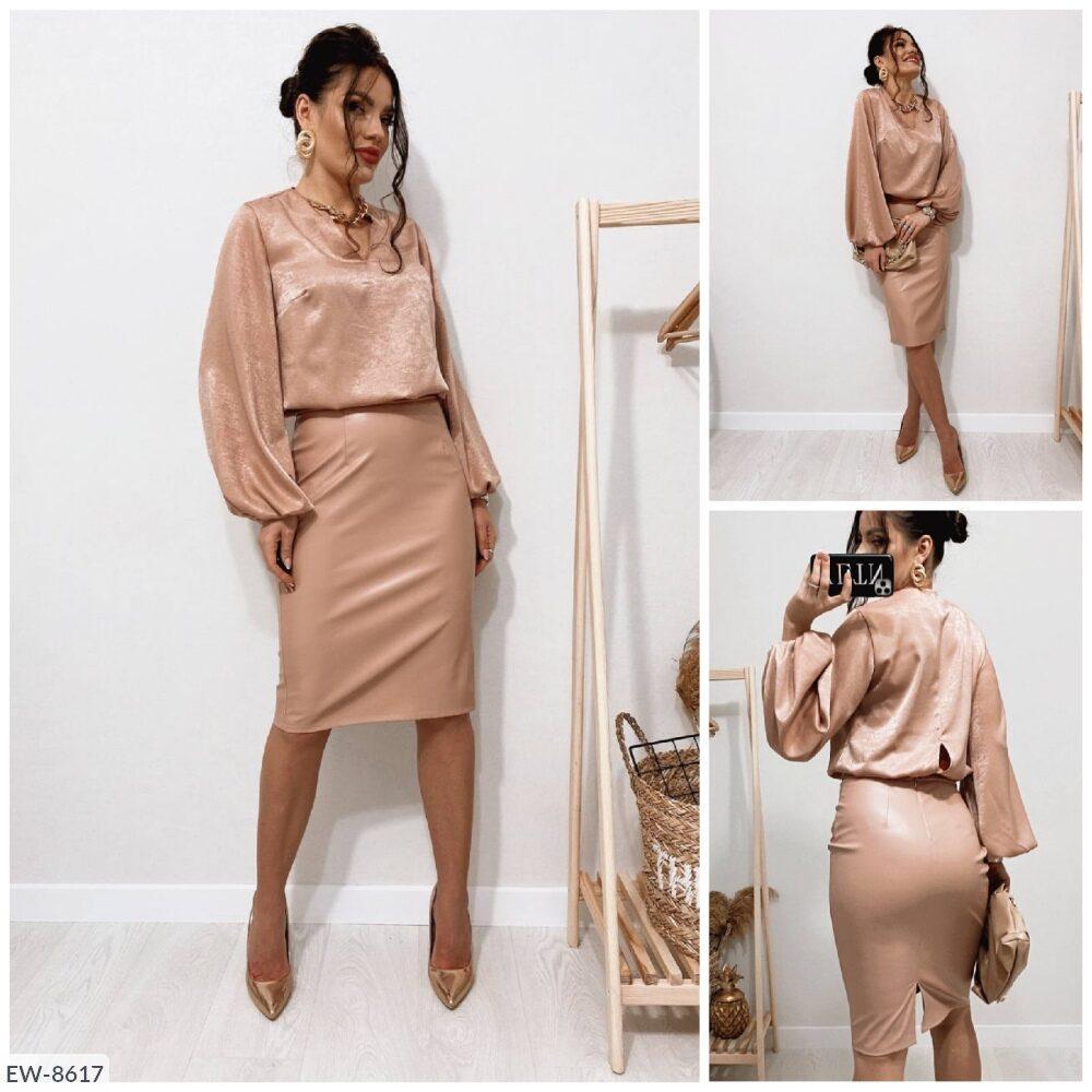 Приталенная стильная женская юбка карандаш из эко-кожи по колено в деловом стиле р-ры 42,44,46,48 арт 620