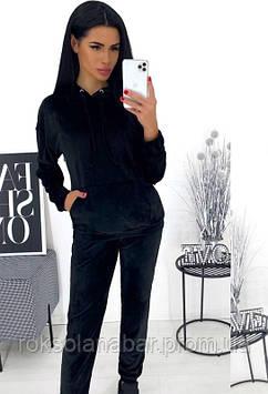 Спортивный костюм из черного-велюра серого цвета 46-48