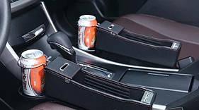 Органайзер карман с АЗУ между сиденьями автомобиля с 2 выходами USB и подставкой под стакан
